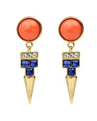 Ben-Amun | Orange And Sapphire Spike Earrings | Lyst
