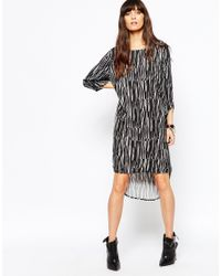Just Female | Gray Swatch Dress In Graphic Print | Lyst