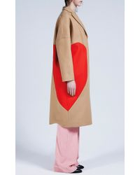 MSGM | Natural Heart Intarsia Camel Wool Felt Coat | Lyst