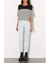 TOPSHOP | White Moto Extracted Bleach Wash Joni Jeans | Lyst