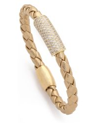 Liza Schwartz - Metallic Pave Glam Bar Leather Bracelet - Lyst