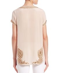 Calypso St. Barth - Natural Amilena Embellished Silk Top - Lyst