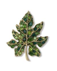 Kenneth Jay Lane | Multicolor Multi Green Leaf Brooch | Lyst