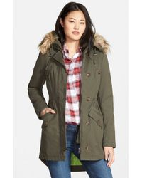 Sam Edelman | Green Twill Pleat Skirt Parka With Faux Fur Trim Hood | Lyst