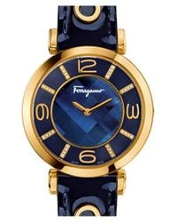 Ferragamo | Blue 'gancino Deco' Leather Strap Watch | Lyst