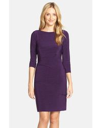 Tahari | Purple Melange Knit Jersey Sheath | Lyst