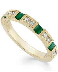 Macy's - Green 14k Gold Emerald (1/3 Ct. T.w.) And Diamond (1/3 Ct. T.w.) Alternating Ring - Lyst