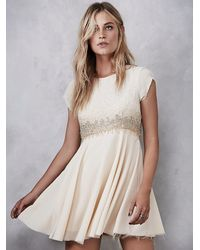 Free People - Natural Glitter Rock Babydoll Dress - Lyst