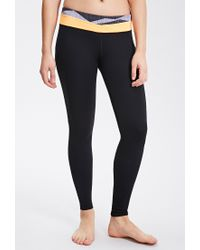 Forever 21 - Black Active Abstract Print Colorblocked Leggings - Lyst