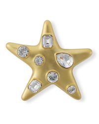 Kenneth Jay Lane | Metallic Satin Gold Crystal Star Brooch | Lyst