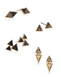 House of Harlow 1960 | Black Tessellation Geometric Stud Earring Set | Lyst