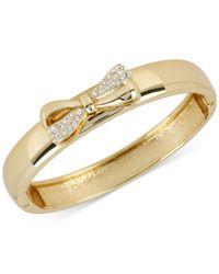 Betsey Johnson - Metallic Gold-tone Crystal Bow Bangle Bracelet - Lyst