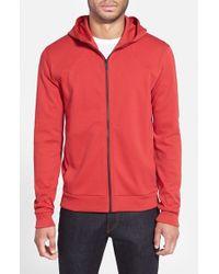 HUGO - Red Cotton Jersey Full Zip Hoodie for Men - Lyst