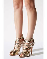 Forever 21 | Metallic N.y.l.a. Strappy Faux Leather Sandals | Lyst