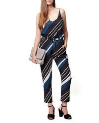 TOPSHOP - Blue Diagonal Stripe Jumpsuit - Lyst