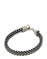 Laura B - Metallic Silver Pleated Brass & Leather Bracelet - Lyst