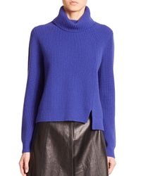 Proenza Schouler | Blue Front-slit Turtleneck Sweater | Lyst