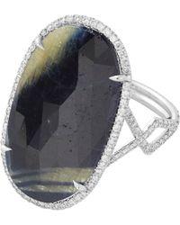 Monique Pean Atelier - Black Diamond  Sapphire Slice Ring - Lyst
