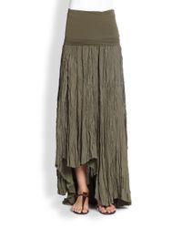 Donna Karan | Gray Silk & Jersey Broomstick Skirt | Lyst