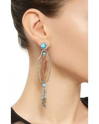 Lydia Courteille | Multicolor One Of A Kind Feather Drop Earrings | Lyst