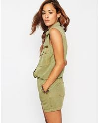 ASOS - Natural Playsuit In Washed Tencel With Zip And Pocket Detail - Lyst