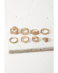 Forever 21 | Metallic Filigree Midi Ring Set | Lyst