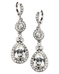 Givenchy | Metallic Silver-tone Swarovski Element Double Drop Earrings | Lyst