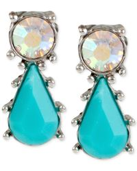 Betsey Johnson | Blue Silver-tone Crystal And Turquoise-colored Stone Earrings | Lyst