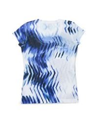Calvin Klein | Blue White Label Illusion Print Short Sleeve Top | Lyst
