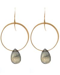 Melissa Joy Manning | Metallic Gold And Labradorite Hoop Drop Earrings | Lyst