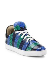 Isa Tapia | Blue Kelly Paneled Snakeskin Sneakers | Lyst