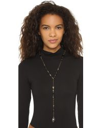 Chan Luu | Black Beaded Lariat Teardrop Necklace | Lyst