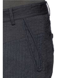 Ziggy Chen - Gray Stripe Panel Front Wool-linen Stretch Pants for Men - Lyst