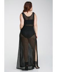 Forever 21 - Black Crochet High-slit Maxi Dress - Lyst