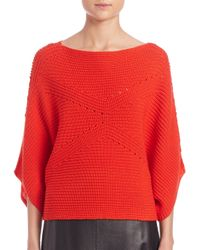 Tess Giberson - Red Moving Ribbed Cropped Sweater - Lyst