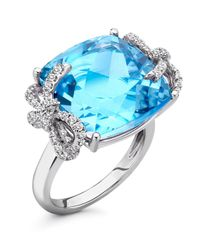 Kiki McDonough | Diamond Bow 18k Gold Blue Topaz Ring | Lyst