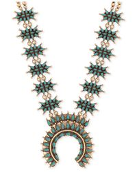 Lucky Brand | Metallic Gold-tone Imitation Turquoise Stone Statement Necklace | Lyst