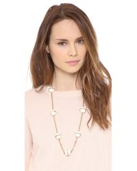 Tory Burch - Metallic Melody Rosary Necklace Ivoryshiny Brass - Lyst