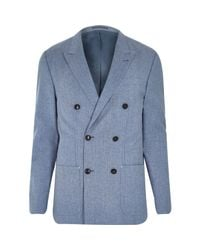 River Island - Blue Premium Double Breasted Slim Blazer for Men - Lyst