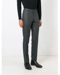 Isaia - Gray Tailored Trousers for Men - Lyst