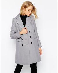 ASOS | Gray Coat In Longline Twill | Lyst