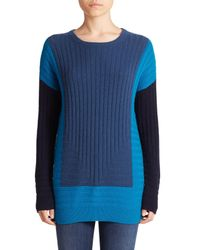 Vince - Blue Colorblock Intarsia Wool/cashmere Sweater - Lyst
