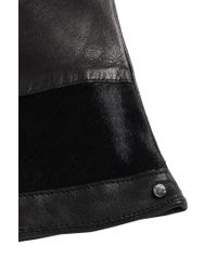 HUGO - Black Leather Gloves With Cowhide Trim: 'dh 69' - Lyst