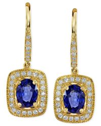 Effy Collection | Blue Effy Sapphire (1-7/8 Ct. T.w.) And Diamond (1/3 Ct. T.w.) Drop Earrings In 14k Gold | Lyst