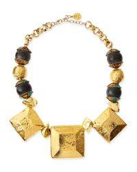 Devon Leigh - Metallic Hammered Golden Medallion Square Necklace - Lyst