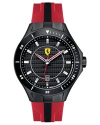 Scuderia Ferrari | Men's Race Day Black And Red Perforated Silicone Strap Watch 44mm 830080 for Men | Lyst