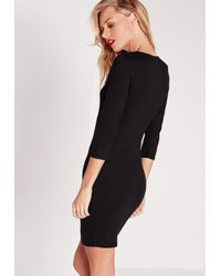 Missguided | Gray Plunge Strap T-shirt Dress Black | Lyst