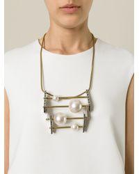 Lanvin - Metallic Geometric Necklace - Lyst