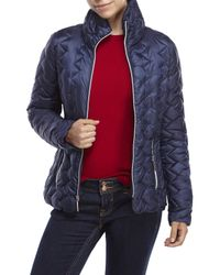 Betsey Johnson | Blue Stand Collar Puffer Jacket | Lyst