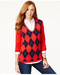 Tommy Hilfiger | Red Lurex Argyle Sweater | Lyst